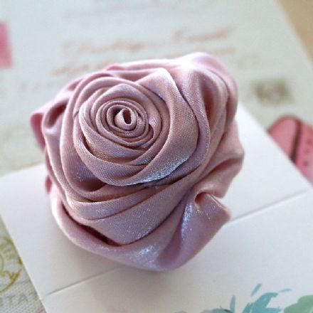 Pink Satin Rose Brooch